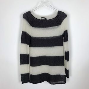 Club Monaco Mohair Blend Striped Sheer Sweater